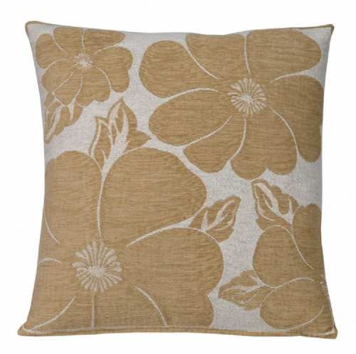 TRENDY STYLISH CHENILLE POPPY FLORAL DESIGN FILLED CUSHION LATTE COLOUR
